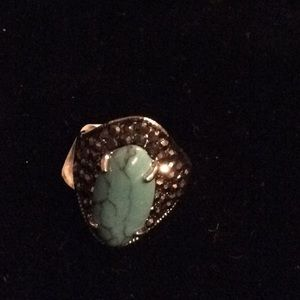 Howlite dyed stone ring in a silver setting, 7 1/2